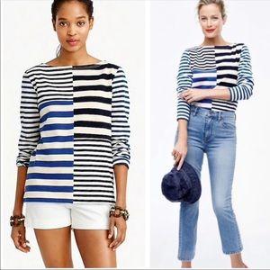 J. Crew Cotton Patchwork Striped T-Shirt